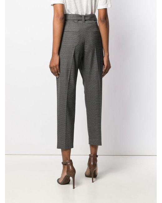 Pantalon crop à taille ceinturée Brunello Cucinelli en coloris Gray