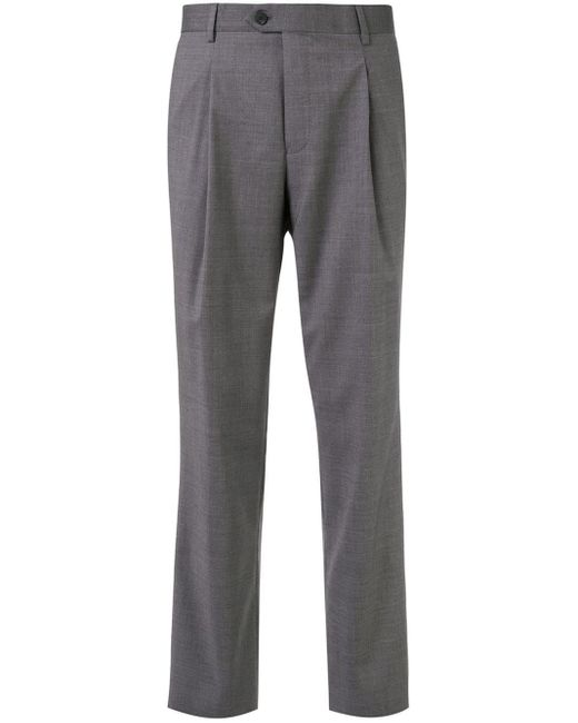 Mid-rise straight leg trousers Gieves & Hawkes pour homme en coloris Gray