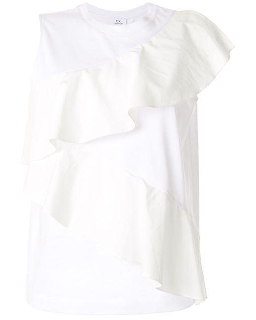 Calvin Klein ラッフルディテール タンクトップ White