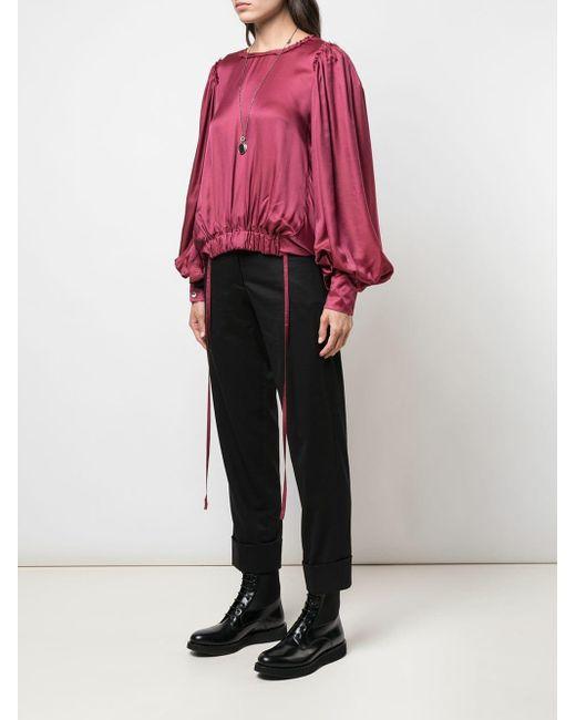 Blouse à ourlet élastiqué Ann Demeulemeester en coloris Purple