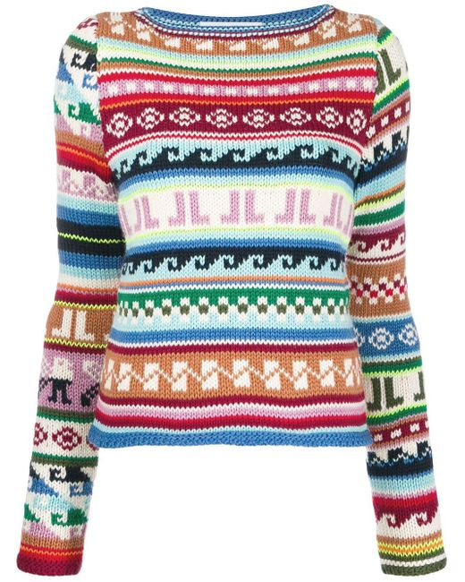 Lanvin Jl モノグラム インターシャセーター Multicolor