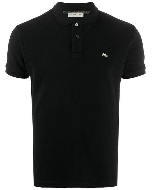 メンズ Etro ショートスリーブ ポロシャツ Black