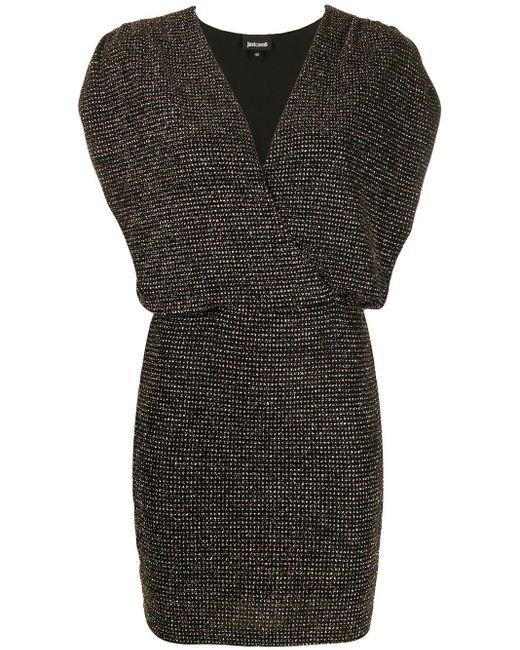 Robe courte pailletée à détails froncés Just Cavalli en coloris Black