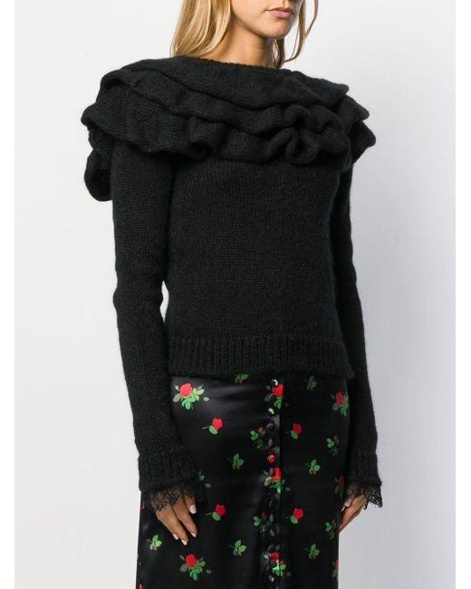 Philosophy Di Lorenzo Serafini Black Pullover mit Rüschenkragen