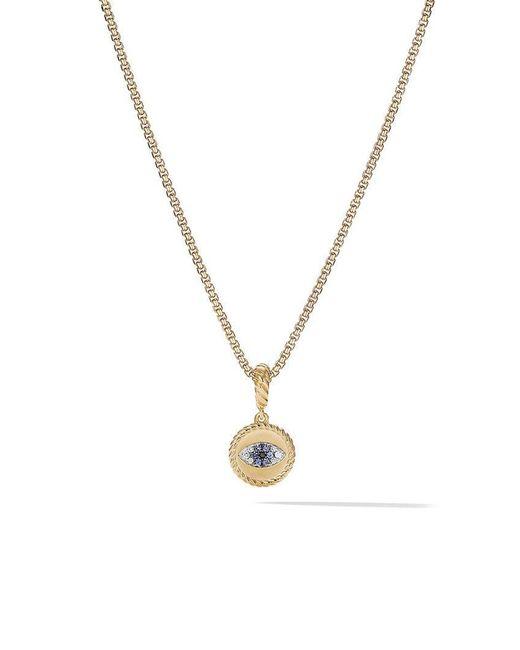 David Yurman - Metallic 18kt Yellow Gold Amulets Diamond And Sapphire Evil Eye Pendant - Lyst
