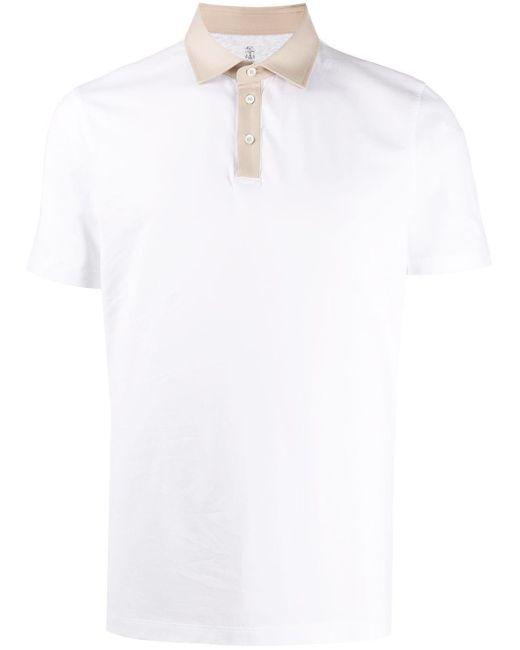 メンズ Brunello Cucinelli バイカラー ポロシャツ White