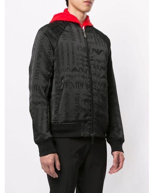 メンズ Emporio Armani ロゴ ボンバージャケット Black
