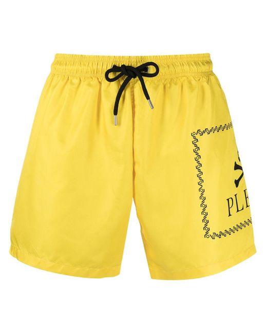メンズ Philipp Plein ロゴ トランクス水着 Yellow