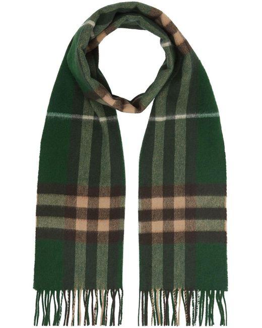 Burberry カシミア チェックスカーフ Green