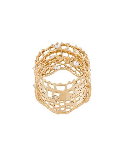 Aurelie Bidermann - Metallic 'vintage Lace' Diamond Ring - Lyst