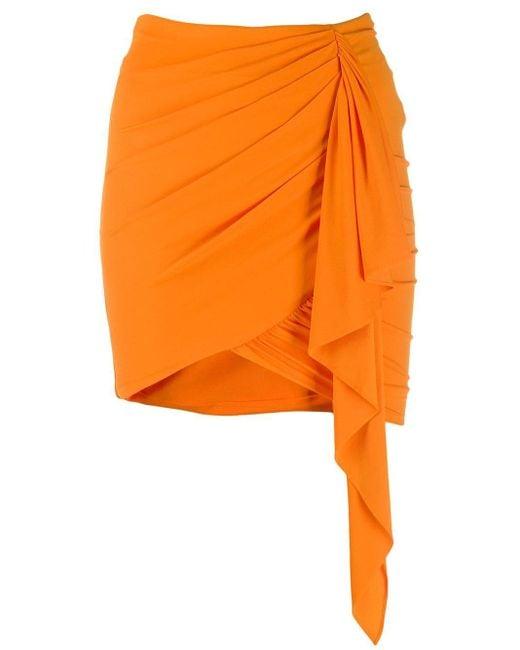 Alexandre Vauthier ストレッチジャージー ルーシュミニスカート Orange
