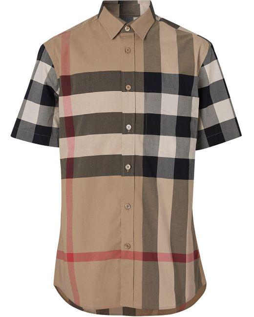 Клетчатая Рубашка С Короткими Рукавами Burberry для него, цвет: Multicolor