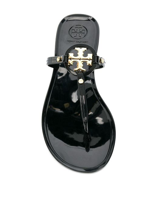 Tory Burch Black Mini Miller Flat Thong Sandals
