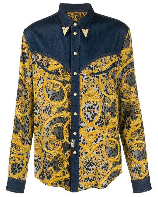 メンズ Versace Jeans プリントシャツ Blue