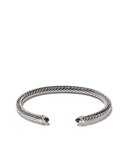 David Yurman Metallic 'Cable' Armspange aus Sterlingsilber mit Diamanten