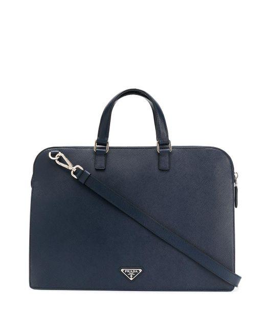 メンズ Prada ロゴ ハンドバッグ Blue