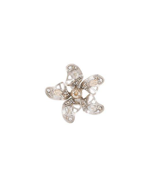 Lanvin - Metallic Crystal-embellished Flower Earring - Lyst