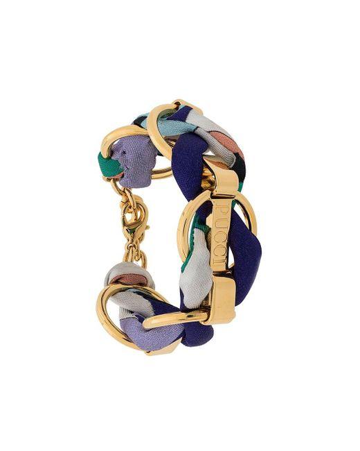 Emilio Pucci Metallic Logo Engraved Woven Chain Bracelet