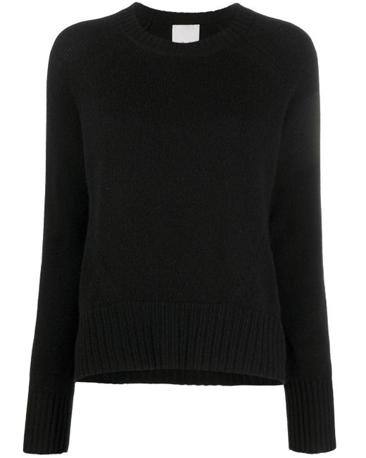 Allude Black Ribbed-knit Edge Round Neck Jumper