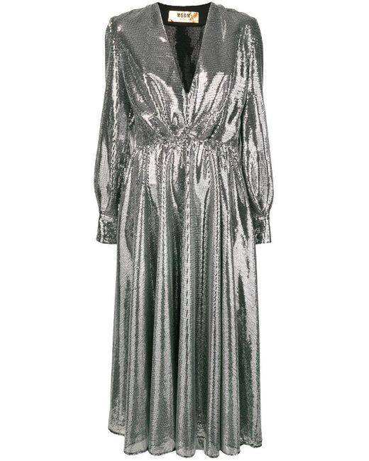 MSGM スパンコール ドレス Metallic