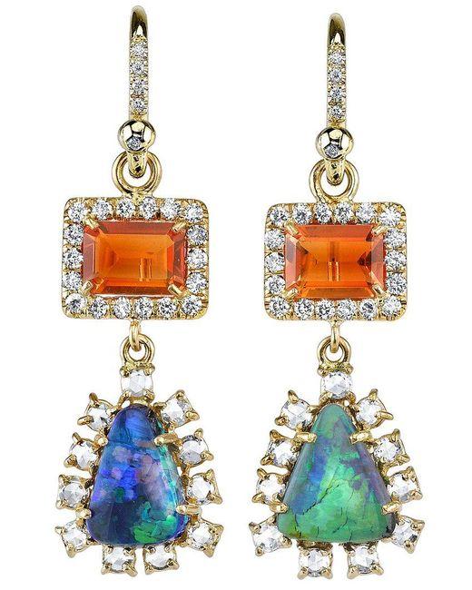 Irene Neuwirth - Green Diamond Tear Drop Earrings - Lyst