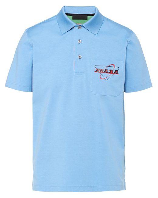 メンズ Prada ロゴ ポロシャツ Blue