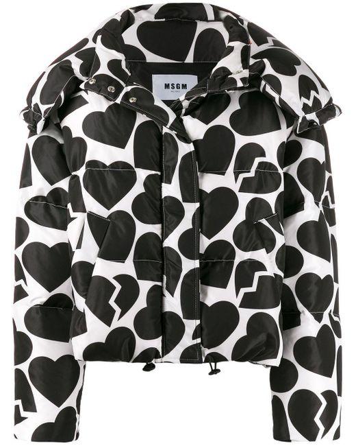 Куртка-пуховик С Принтом MSGM, цвет: Black