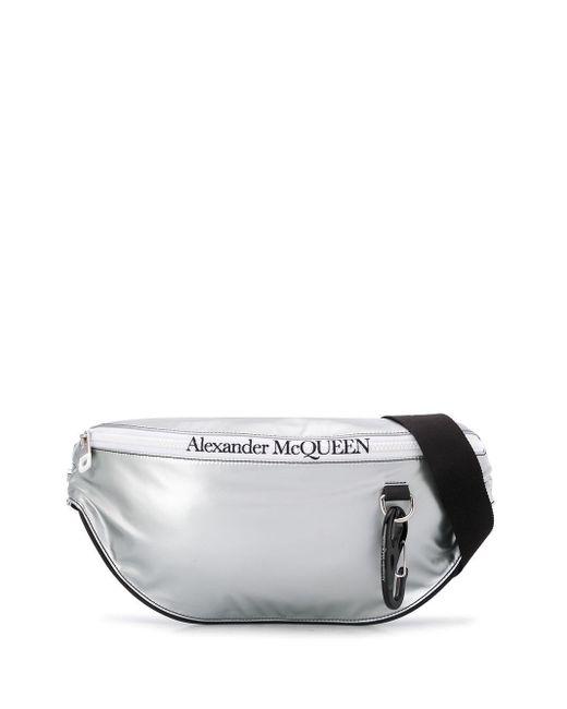 メンズ Alexander McQueen ロゴ ベルトバッグ Metallic