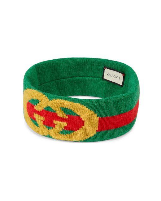 Gucci Green Web Wool Headband With Interlocking G