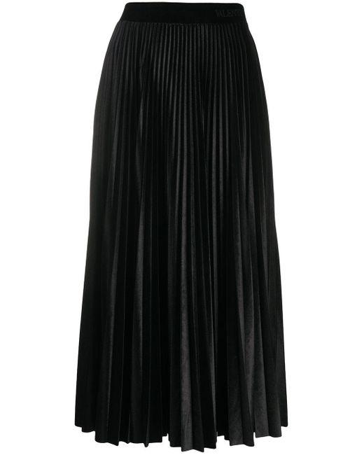 Плиссированная Юбка Миди Valentino, цвет: Black