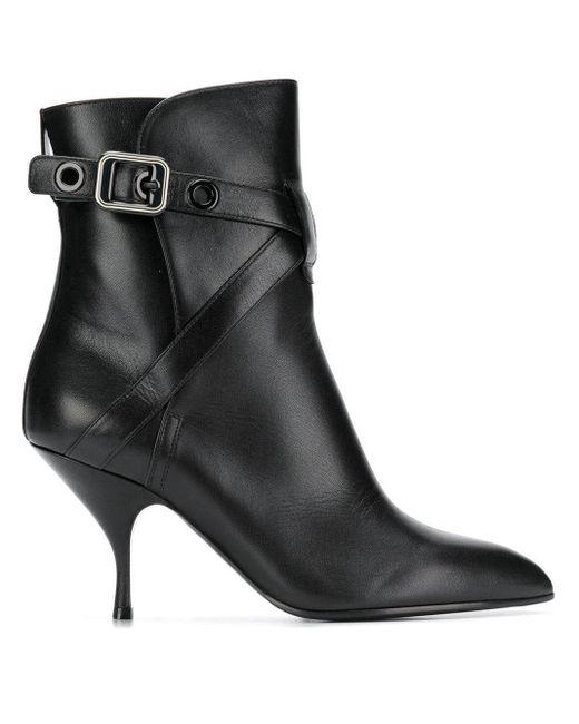 Bottega Veneta バックル アンクルブーツ Black