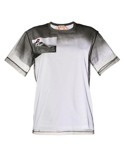 N°21 Camiseta con panel de malla de mujer de color blanco