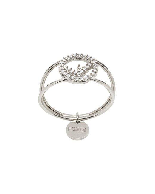 Кольцо С Кристаллами Fendi, цвет: Metallic