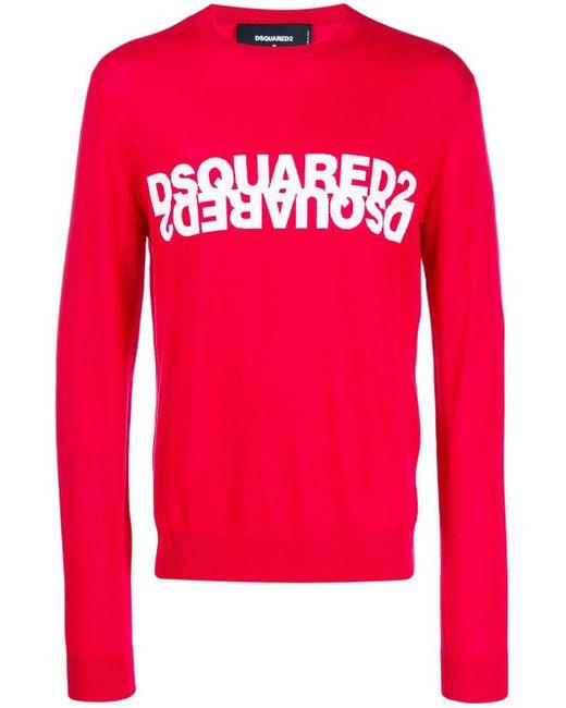 メンズ DSquared² ロゴ セーター Red