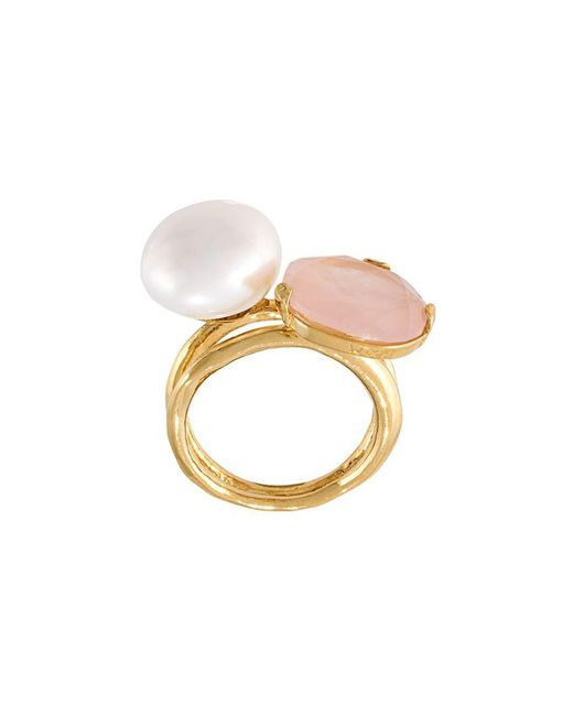 Wouters & Hendrix | Metallic 'my Favourite' Rose Quartz And Pearl Ring | Lyst