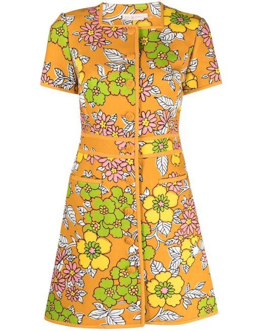 Tory Burch フローラル ショートスリーブ ドレス Orange