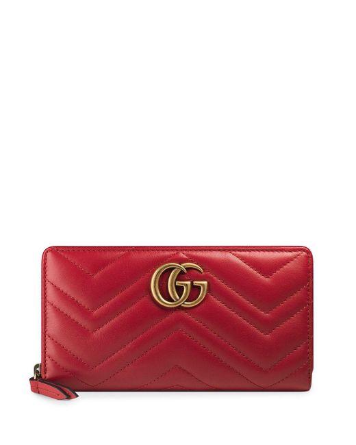 Кошелек GG Marmont С Круговой Молнией Gucci, цвет: Red