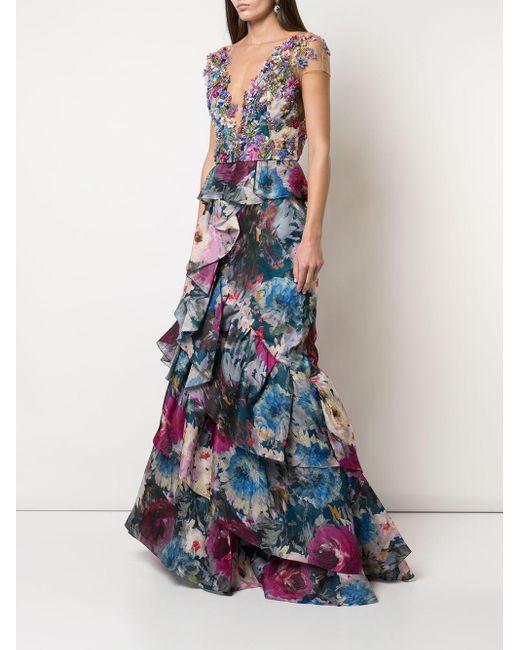Marchesa フローラル ドレス Blue