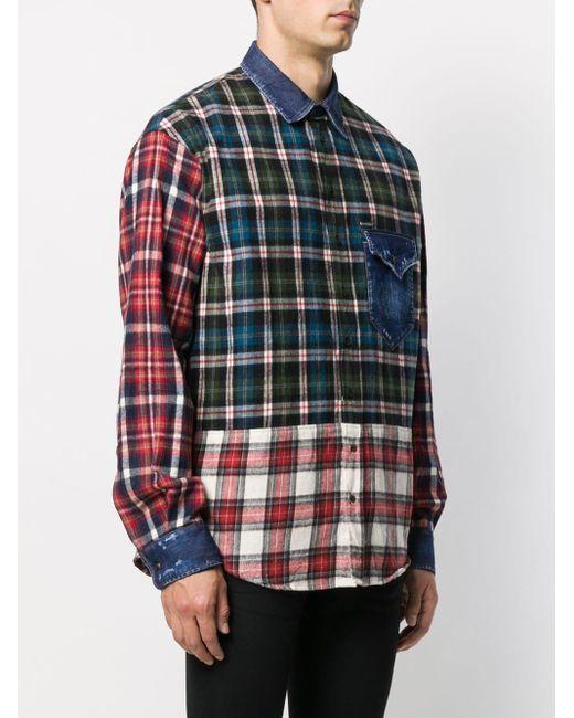 Chemise à design patchwork DSquared² pour homme en coloris Blue