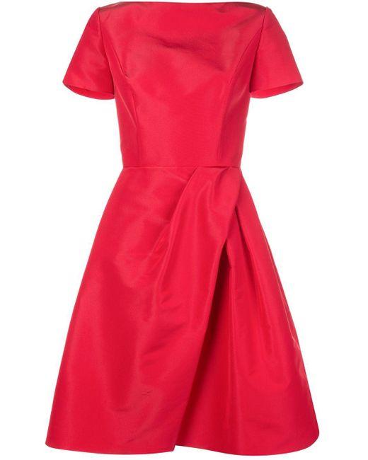 Carolina Herrera フレア ラップドレス Red