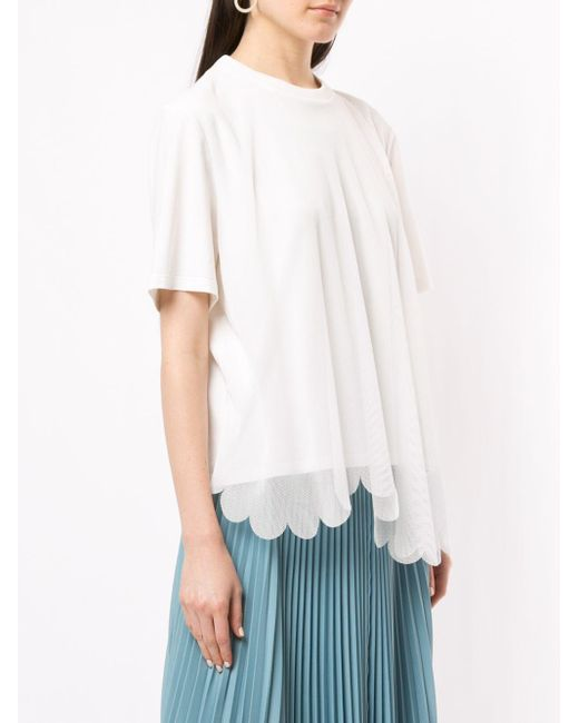 Paskal メッシュレイヤード Tシャツ White