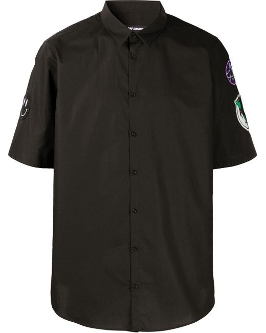 メンズ Raf Simons ブラック パッチ スリム フィット ショート スリーブ シャツ Black