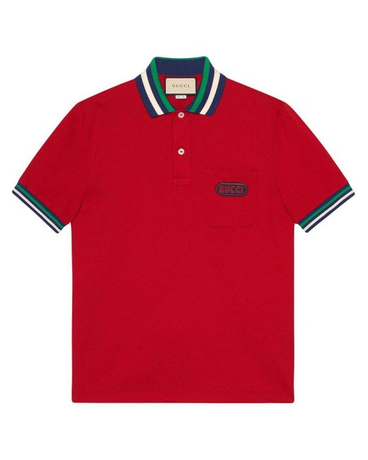 メンズ Gucci コントラスト ポロシャツ Red