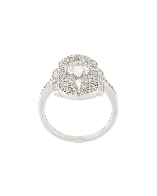 V Jewellery - Metallic Shield Ring - Lyst
