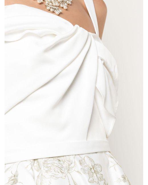 Vestito midi con ricamo di Marchesa notte in White