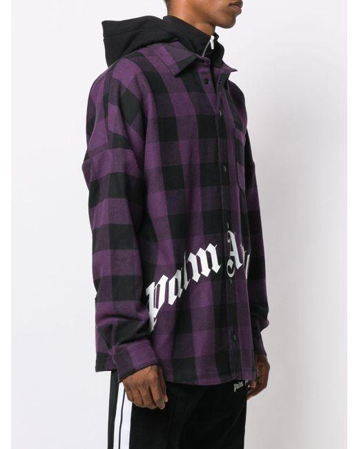 c842999f ... Palm Angels - Purple Hooded Plaid Shirt Jacket for Men - Lyst ...