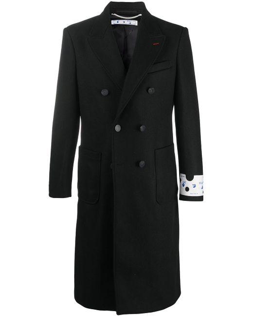 メンズ Off-White c/o Virgil Abloh Ow Logo Long Coat Black White