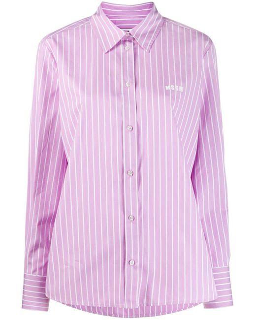 MSGM ストライプ シャツ Purple