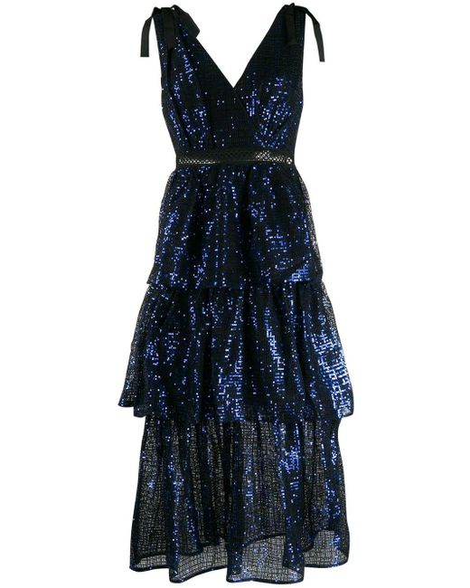 Self-Portrait スパンコール ドレス Blue