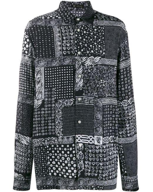メンズ Versace オーバーサイズ シャツ Black